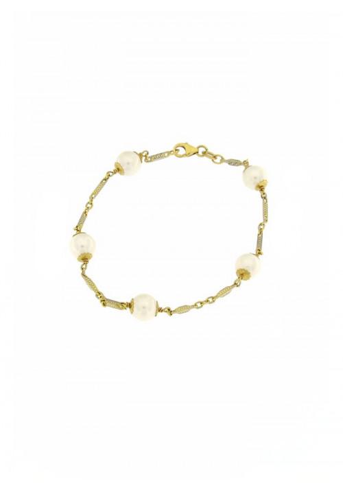 Bracciale in Oro 18 Kt con Perle Giapponesi mm 7 - PERBR12ORO