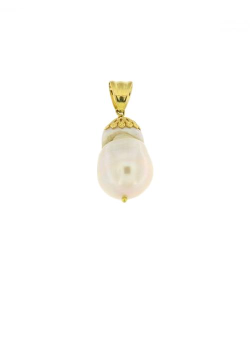 Ciondolo in oro 18 kt con perla barocca - PERCN02ORO