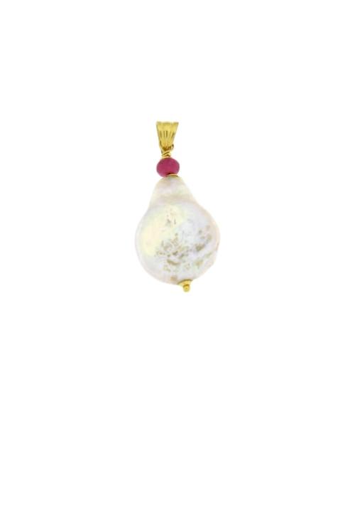 Ciondolo in oro 18 kt con perla barocca e radici di rubini - PERCN05ORO