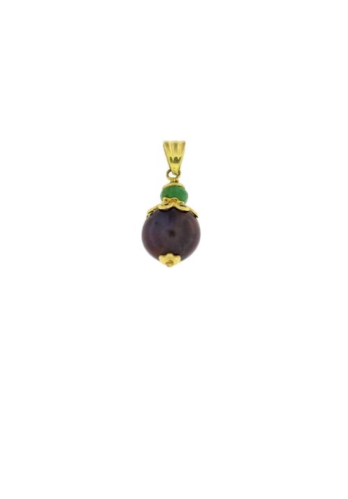 Ciondolo perla nera in oro 18 Kt con smeraldo - PERCN07ORO