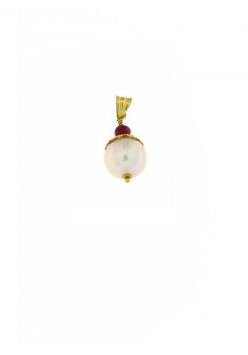 Ciondolo in oro 18 kt con perla e radici di rubino - PERCN08ORO