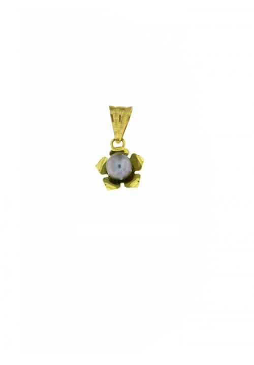 Ciondolo in oro 18 kt con perla grigia - PERCN10ORO