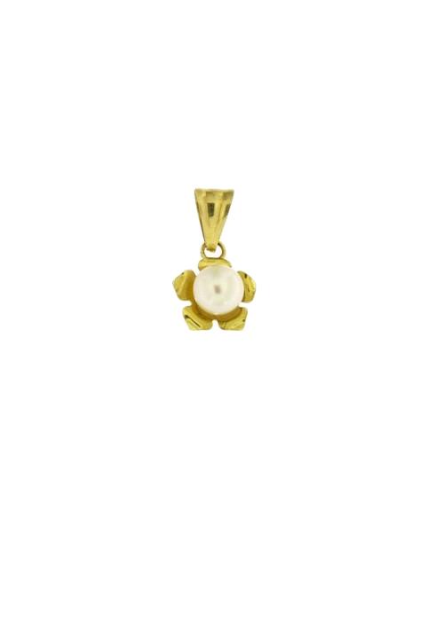 Ciondolo in oro 18 kt con perla sferica bianca - PERCN11ORO