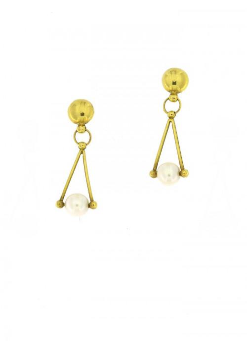 Orecchini in oro 18 kt pendenti perle coltivate in acqua dolce - mm 6.5 - 7 - PEROR26ORO