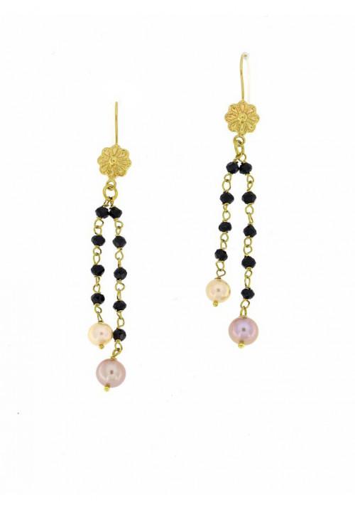 Orecchini pendenti perle coltivate in acqua dolce montate in oro giallo 18 kt  - mm 5 - PEROR33ORO