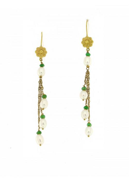 Orecchini pendenti perle coltivate in acqua dolce montate in oro giallo 18 kt  - mm 6x5 - PEROR34ORO