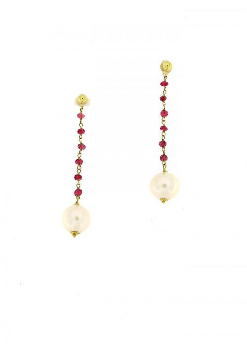 Orecchini pendenti perle coltivate in acqua dolce montate in oro giallo 18 kt  - mm 9 - PEROR35ORO