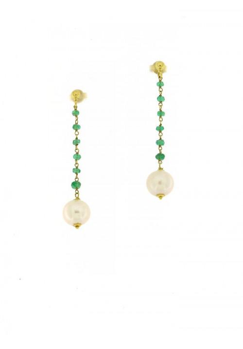 Orecchini pendenti perle coltivate in acqua dolce montate in oro giallo 18 kt  - mm 9 - PEROR36ORO