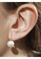 Orecchini pendenti perle coltivate in acqua dolce montate in oro bianco 18 kt  - mm 11