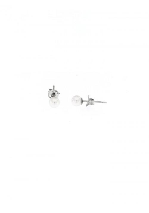 Orecchini perle Coltivate Giapponesi montate in oro bianco 18 kt  - 4.5 mm