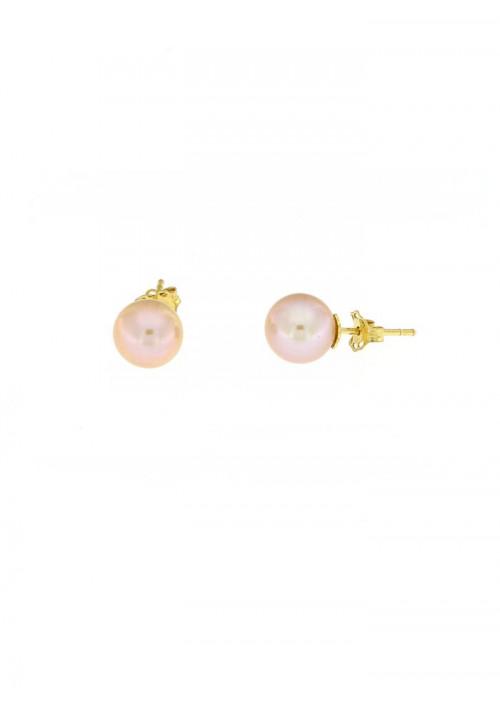 Orecchini perle rosate coltivate in acqua dolce montate in oro giallo 18 kt  - mm 8
