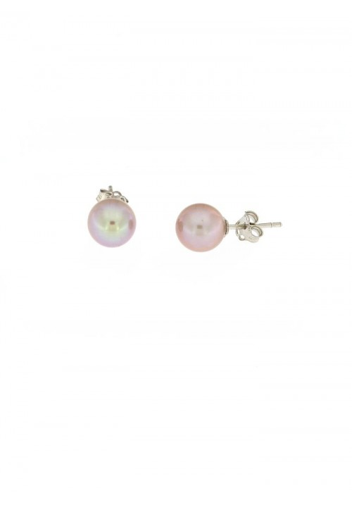 Orecchini perle rosa antico coltivate in acqua dolce montate in oro bianco 18 kt  - 8 mm