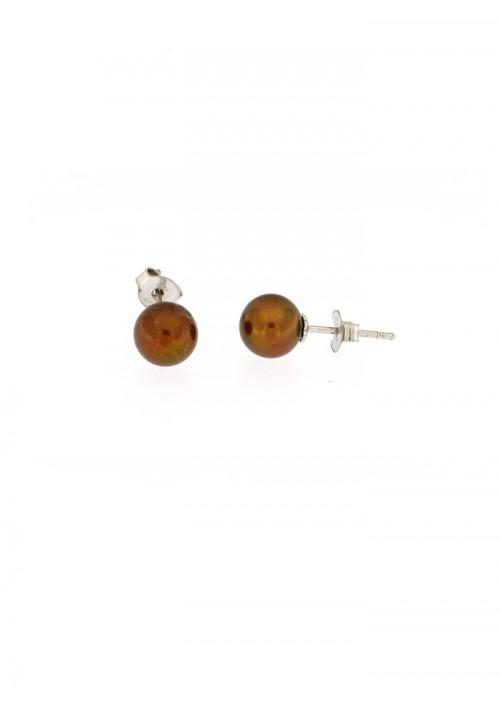 Orecchini perle chocolate coltivate in acqua dolce montate in oro bianco 18 kt  - mm 7 1/2