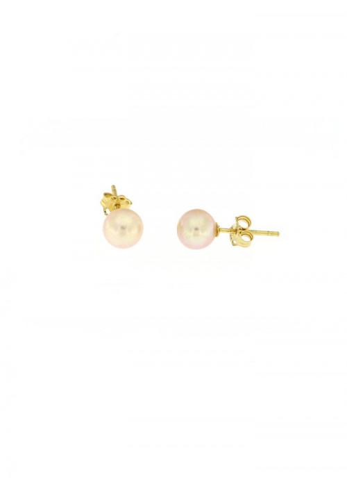 Orecchini perle rosa coltivate in acqua dolce montate in oro giallo 18 kt  - 7 mm