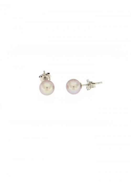 Orecchini perle grigie coltivate in acqua dolce montate in oro bianco 18 kt  - 7 mm