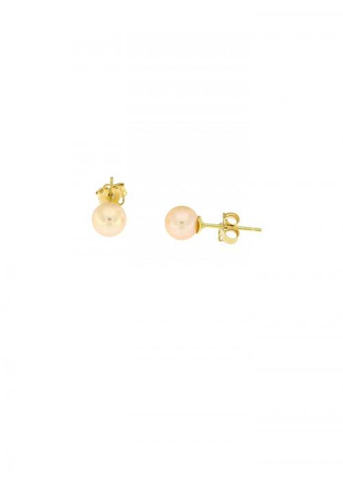Orecchini perle rosa coltivate in acqua dolce montate in oro giallo 18 kt  - 6 mm