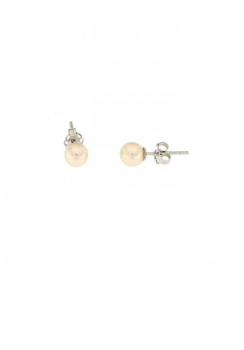 Orecchini perle coltivate in acqua dolce sferiche montate in oro bianco 18 kt  - mm 6