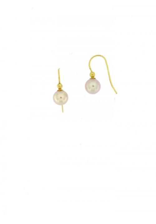 Orecchini pendenti perle coltivate in acqua dolce montate in oro giallo 18 kt  - mm 6.5