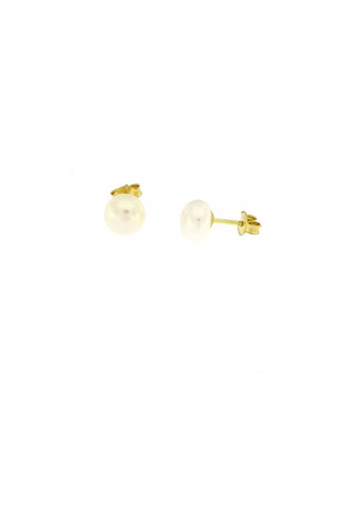 Orecchini perle coltivate in acqua dolce montate in oro giallo 18 kt mm 7